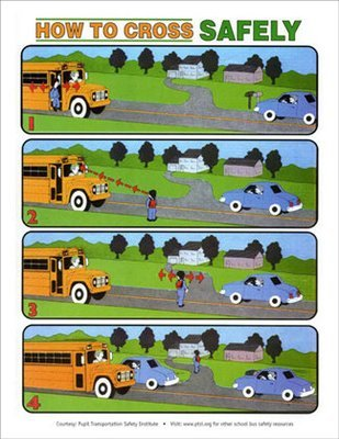 Safe Crossing STICKER (for inside the school bus)