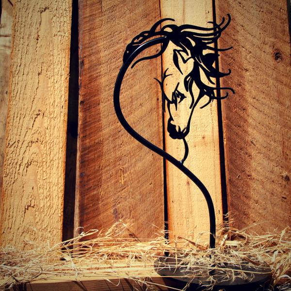 """18"""" Black Horse Head Sculpture"""