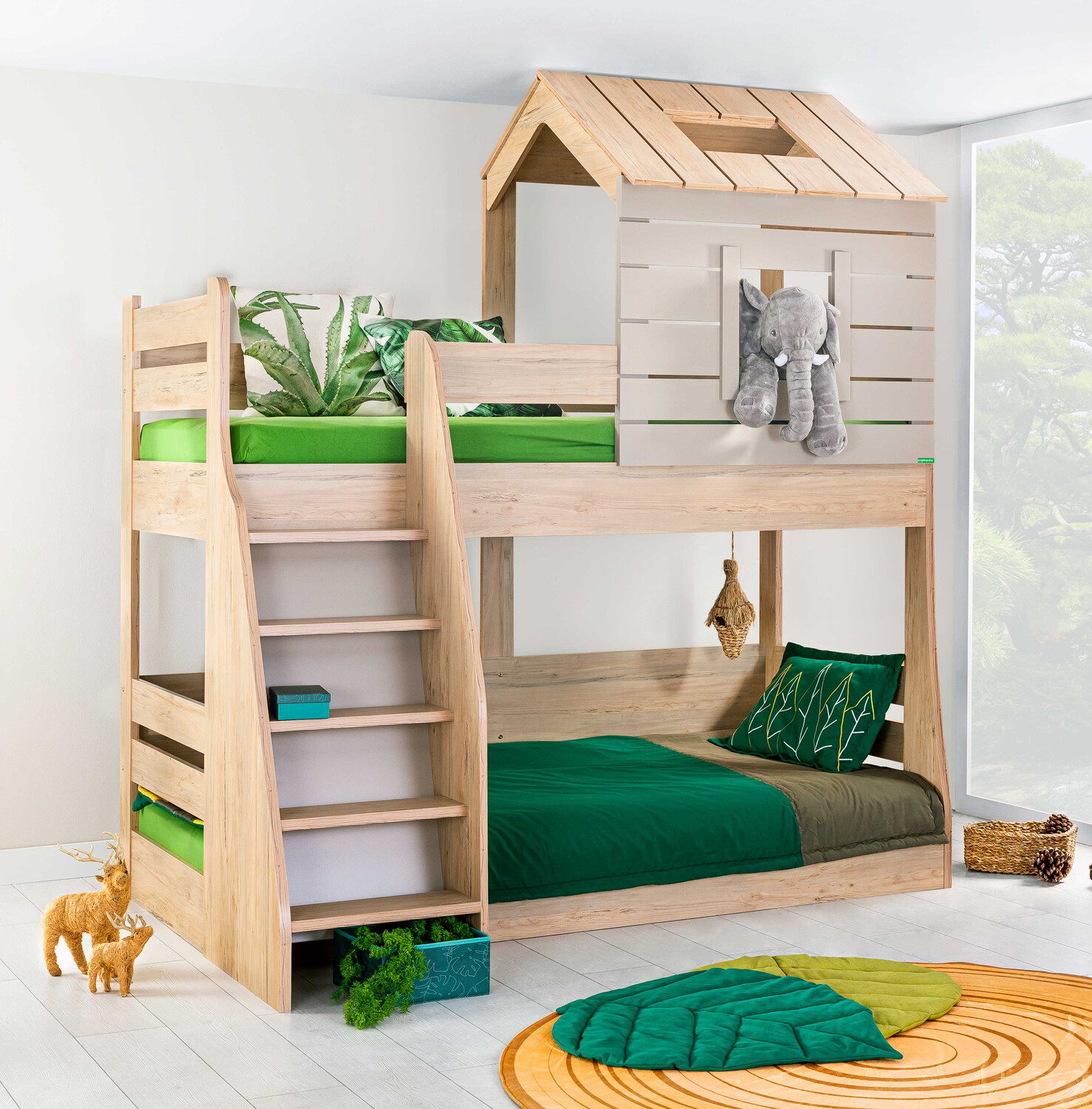 Picture of: My House Bunk Bed For Kids Wood Finish