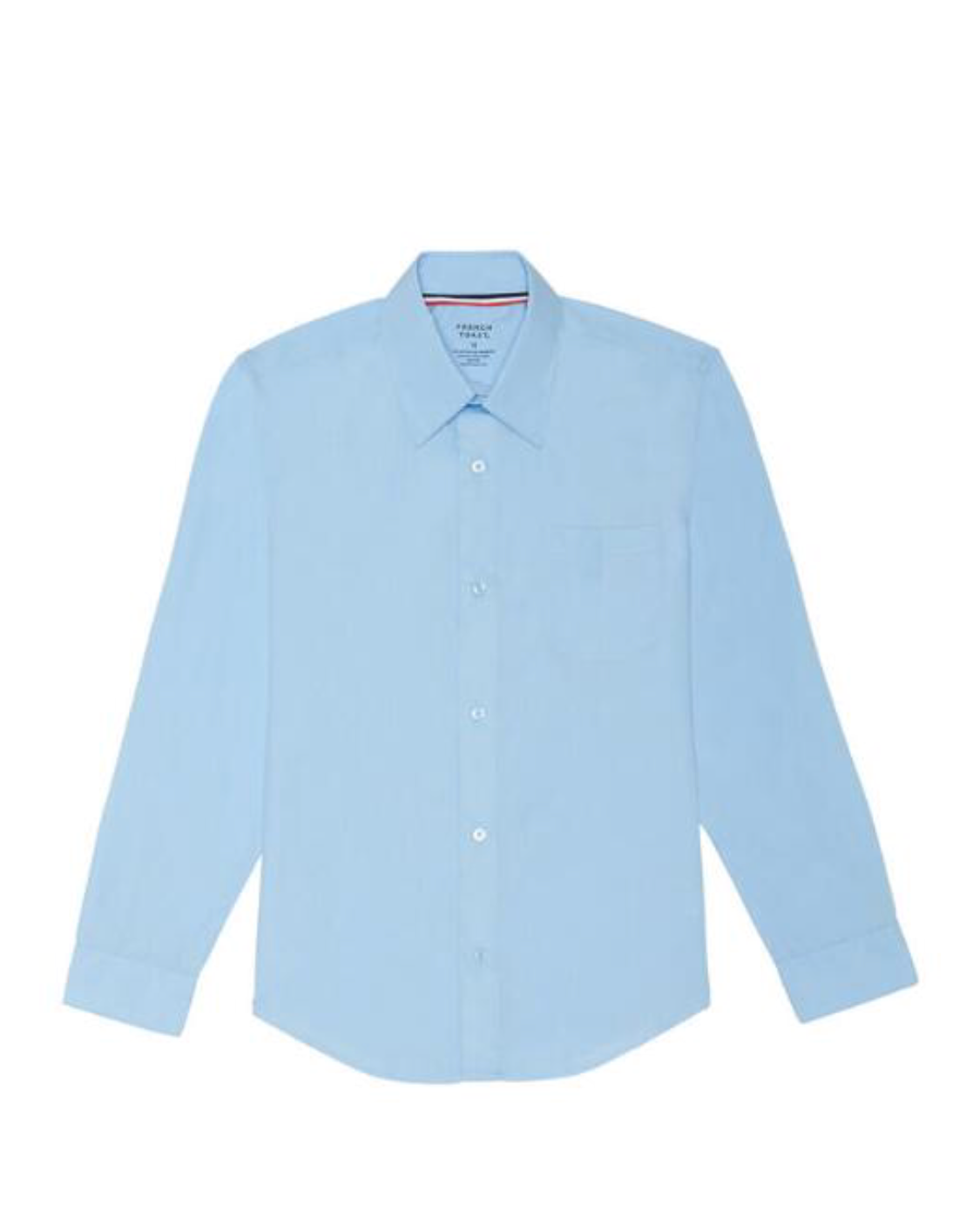 Boys Long Sleeve Dress Button Down Shirt BLUE/WHITE with School Monogram(For boys in all grades)