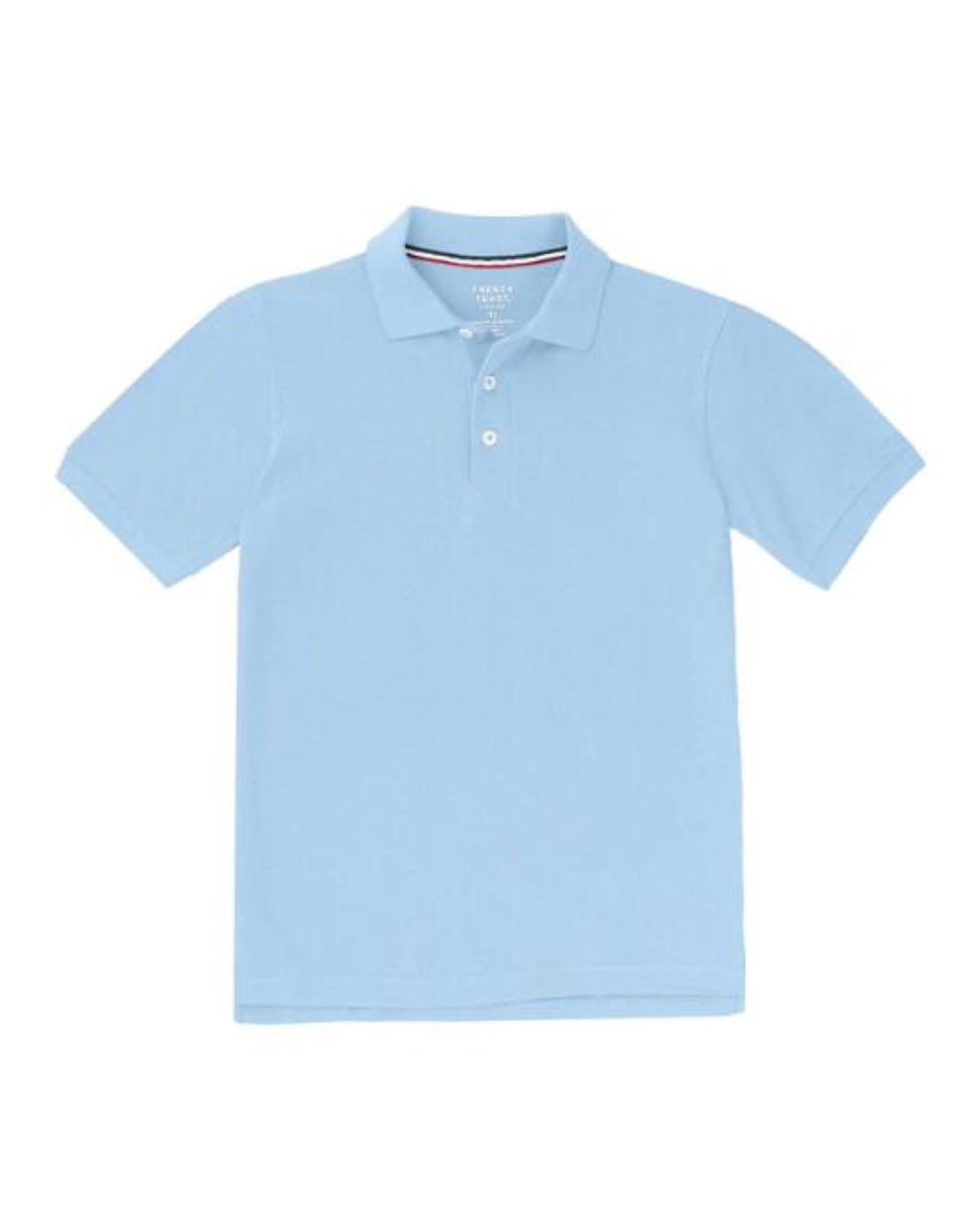 Boys CottonPoly Jersey Knit Polo Short Sleeve BLUE/WHITE with School Monogram ( for all grades boys and girls)