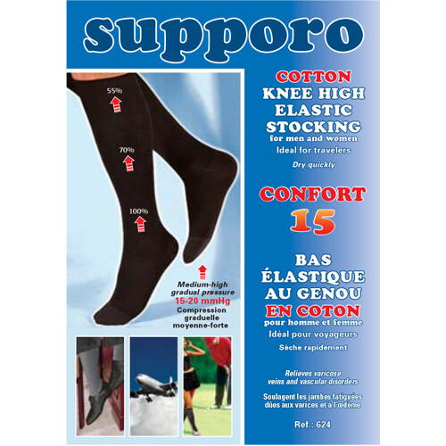 Supporo Cotton Knee High Elastic Support Stocking 15-20 mmHg
