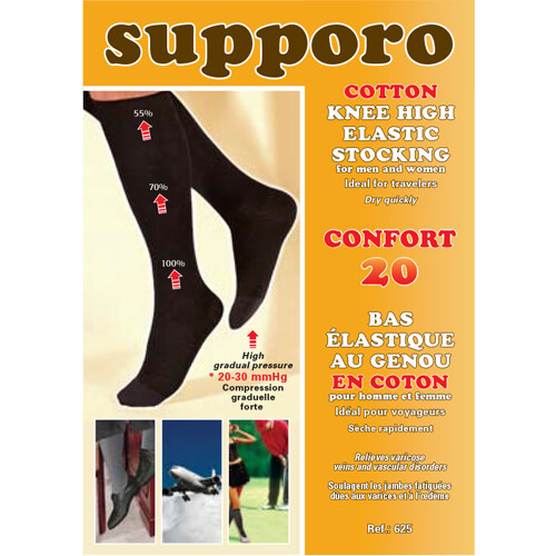 Supporo Cotton Knee High Elastic Support Stocking 20-30 mmHg