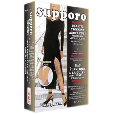 Supporo Elastic Stocking Above Knee with Lace and Silicone Open Toe Medium-High gradual pressure 16-20 mmHg