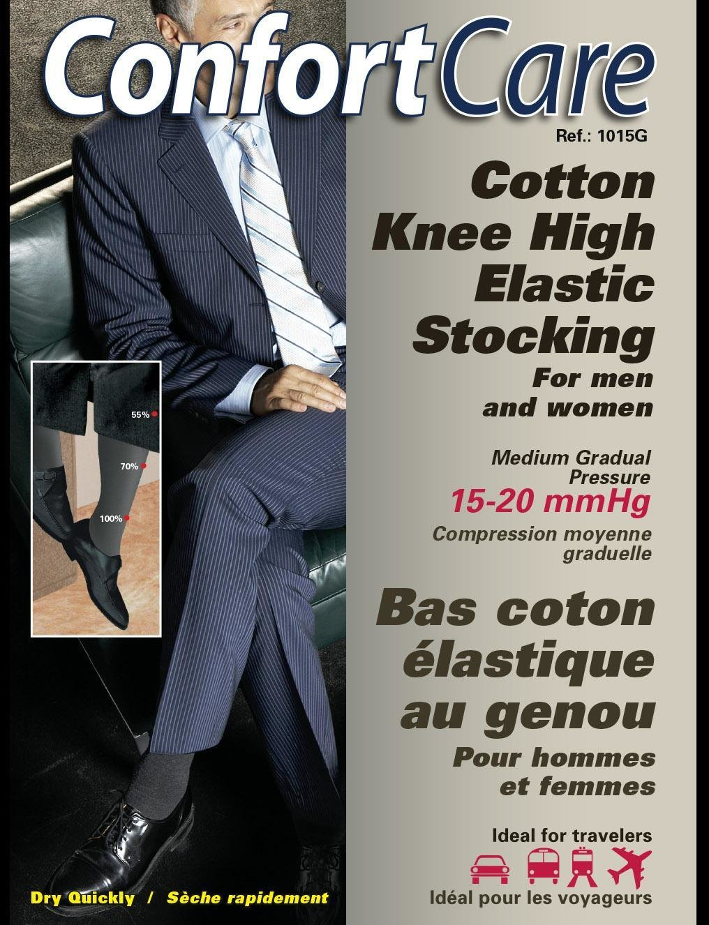Elastic Support Knee Stockings for men & women. (15-20 mmHg)