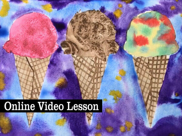 Watercolor Ice Cream Cones Online Video Painting Lesson