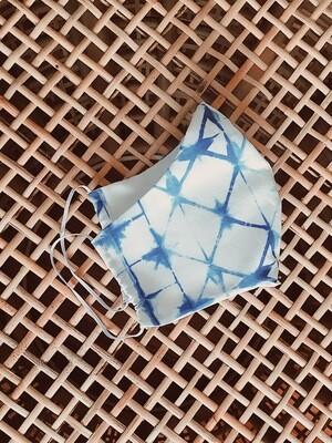 Blue Shibori Double Layered Face Mask