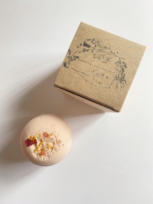 pink grapefruit bath bomb - among the flowers