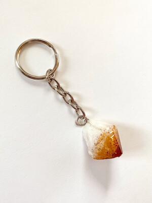 raw crystal keychain