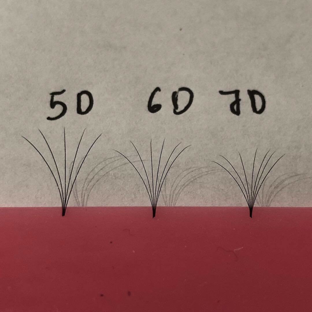 pre hand fans ( A Box of 500 Fans) 5D U (DD) curl 9mm 0.07