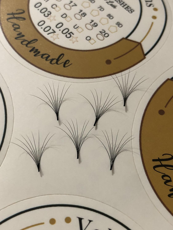 pre hand fans ( A Box of 500 Fans) 8D C curl 12mm 0.03