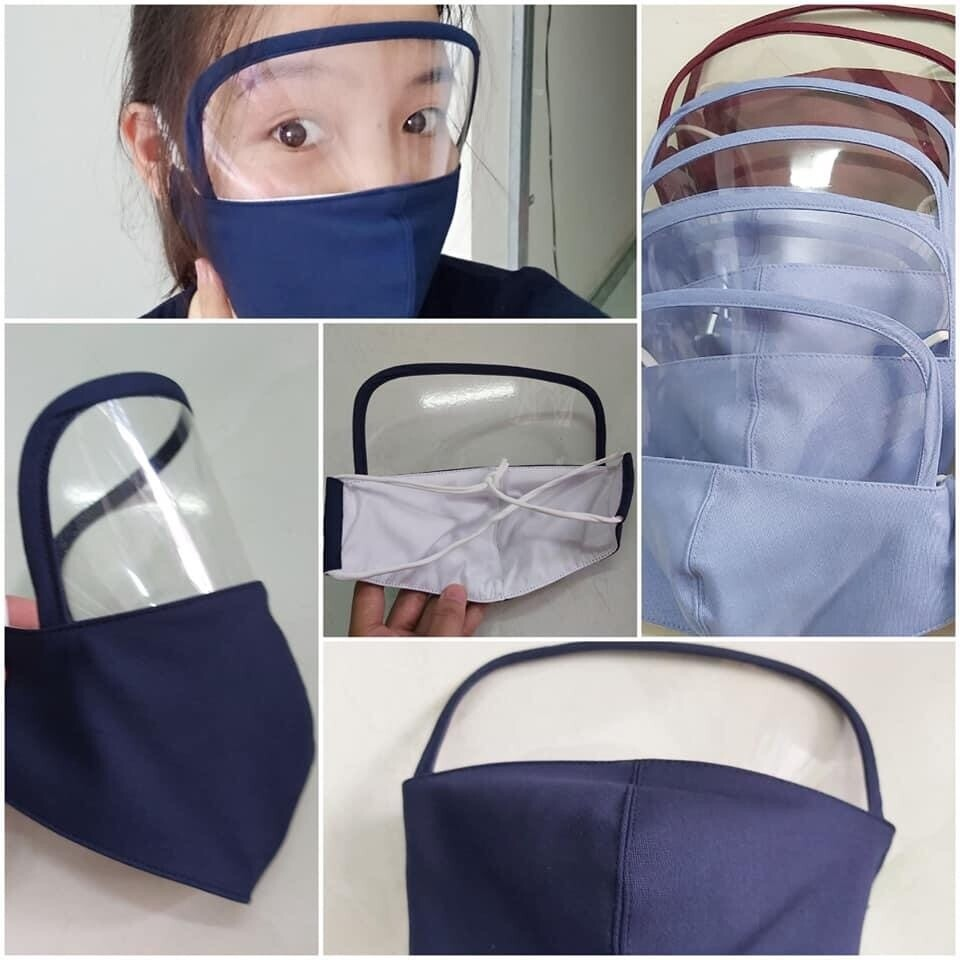 Fabric Mask With Attached Face shield