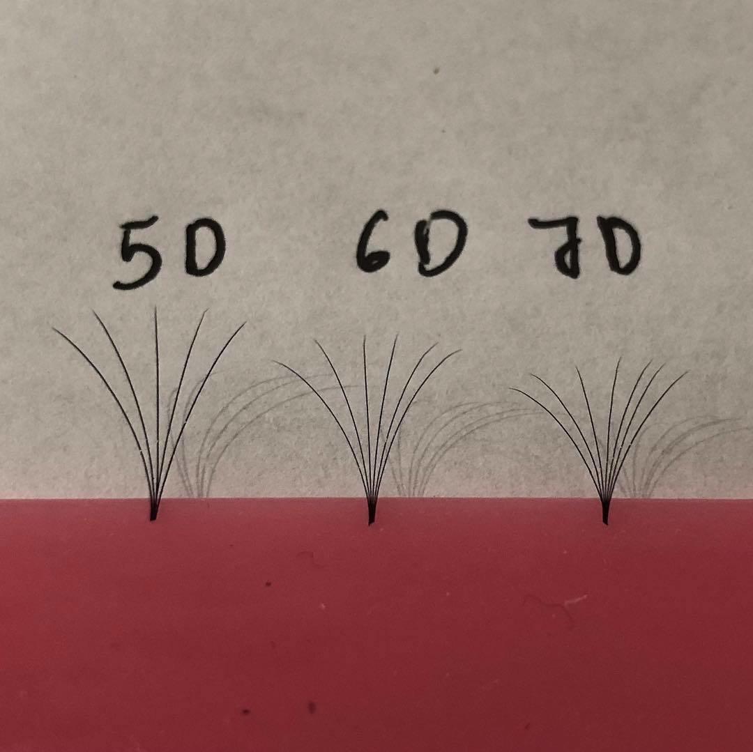 pre hand fans ( A Box of 500 Fans) 5D U (DD) curl 16mm 0.07