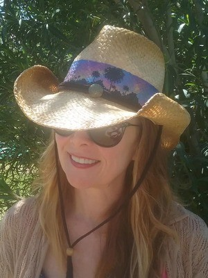 """""""Blue Sky Palms"""" Cowboy Hat with Button & Cord"""