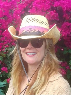 """""""Pink Sky Palms"""" Cool Cowboy Hat with Button & Cord"""