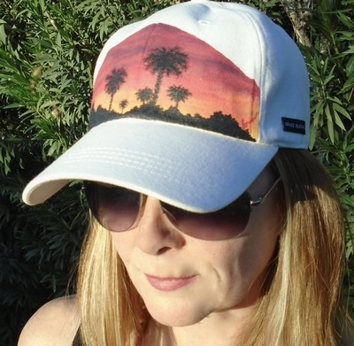 """Hand-painted """"Sunset Palms"""" Light Pink Ladies Baseball Hat (Not Shown)"""