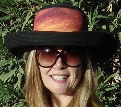 "Hand-painted ""Sunset Palms"" Black Kettle Brim Sun Hat"