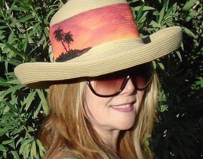 "Hand-painted ""Sunset Palms"" Tan Kettle Brim Sun Hat"