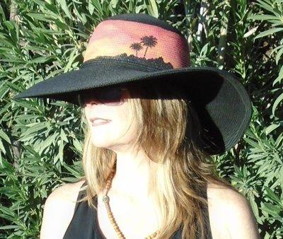 "Hand-painted ""Sunset Palms"" Black 5"" Brim Sun Hat"