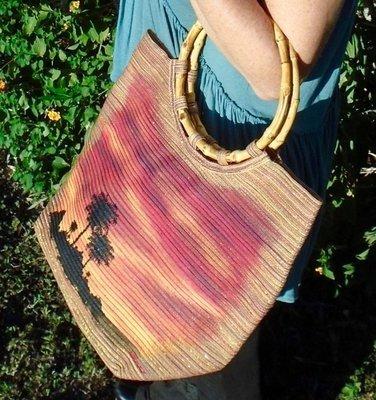 "Hand-painted ""Sunset Palms"" Metallic 15"" x 13"" Handbag"