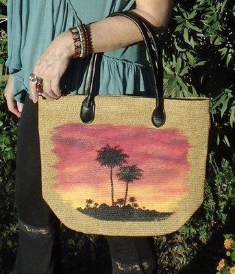 "Hand-painted ""Sunset Palms"" 16"" x 13"" Handbag"