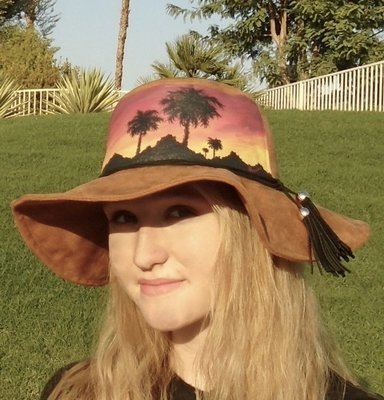 """Hand-painted """"Sunset Palms"""" Brown Hippy Brim Faux Suede Hat"""