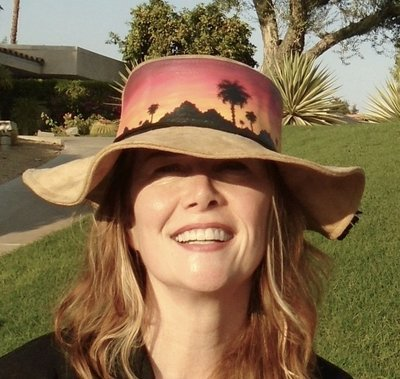 """Hand-painted """"Sunset Palms"""" Hippy Brim Faux Suede Hat"""