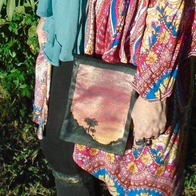 "Hand-painted ""Sunset Palms"" Black 9"" x 6"" Crossbody Bag"