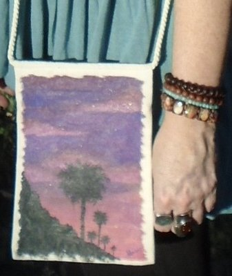 """Hand-painted """"Sunset Palms"""" Natural Color 9"""" x 6"""" Crossbody Bag"""