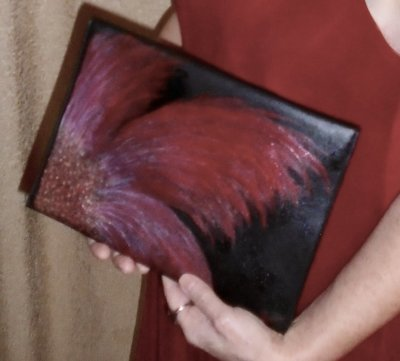 """Hand-painted """"Abstract Flower"""" Black Envelope Clutch 11""""x8""""x.5"""""""