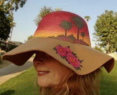 "Hand-painted ""Cactus Flowers & Palms"", Camel 4"" Floppy Brim Hat"