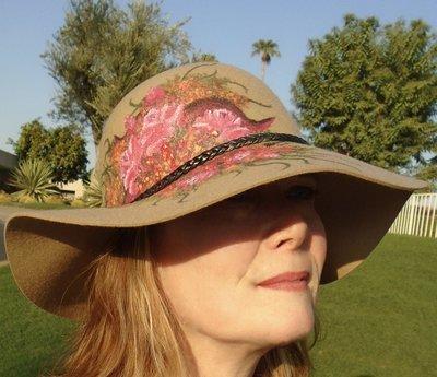 "Hand-painted ""Pink Bouquet"", Camel 3"" Floppy Brim Hat"