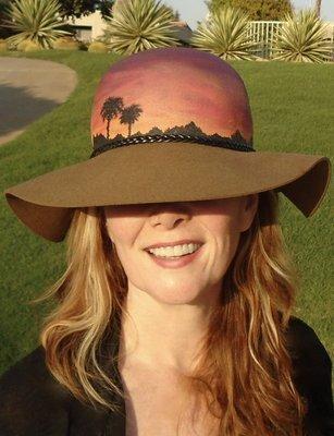 "Hand-painted ""Sunset Palms"", Mocha 3"" Floppy Brim Hat"