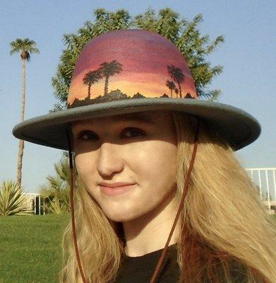 "Hand-painted ""Sunset Palms"" Light Blue 3.5"" Brim Wool Felt Hat"