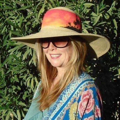 "Hand-painted ""Sunset Palms"" Tan 5"" Brim Sun Hat"