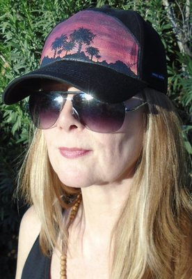 "Hand-painted ""Sunset Palms"" Black Ladies Baseball Hat"
