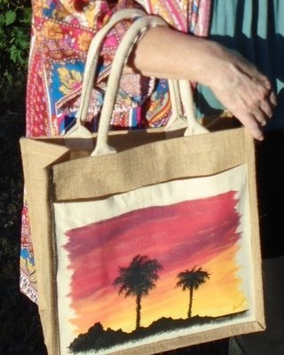 """Hand-painted """"Sunset Palms"""" 12""""x12""""x6"""" Natural Tote"""
