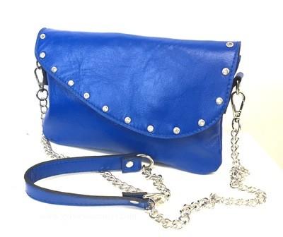 Isia pochette cuir bleu, pochette cuir, lanière chaine et cuir,