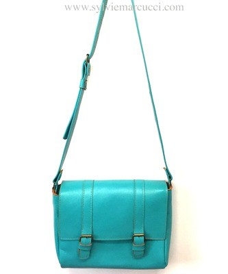 Athéna turquoise sac  région Occitanie cuir Français porté épaule  pièce unique Toulouse