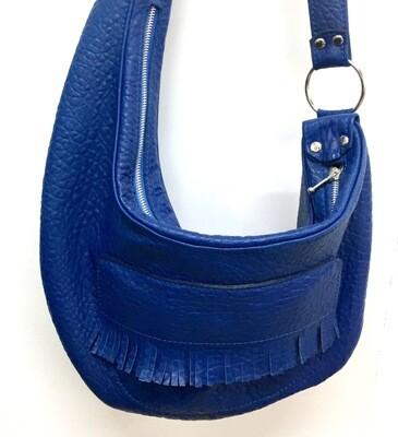 Amarilys cuir Bleu, #sacbanane, #pièce unique #cuircreateur