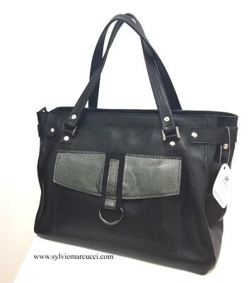 Cathou sac cabas bi cuir de vachette, pièce unique dans ce coloris, porté épaule