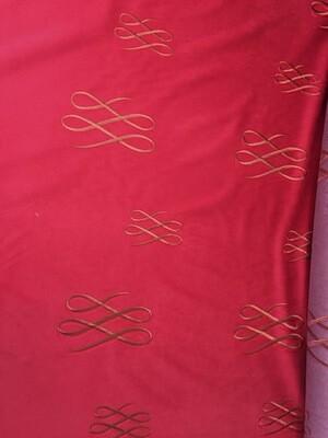 Tissu R coupon  peau de pêche, tissu brodé pour siège ou rideau 1m40 sur 3m