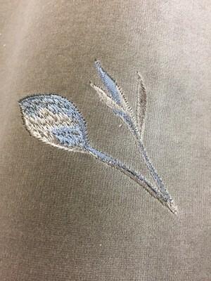Tissu F velours taupe brodé de fleurs, 1,40m par 3m