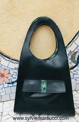 Beatrix sac cuir femme cuir Français vert foncé et cuir vernis vert marbré sac créateur pièce unique fait à Toulouse