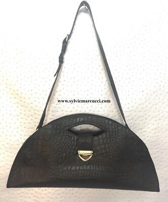 Mariluna sac cuir noir impression croco porté main ou épaule, modèle déposé FR1049593