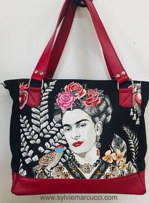 Cabas Frida cuir et toile pièce unique