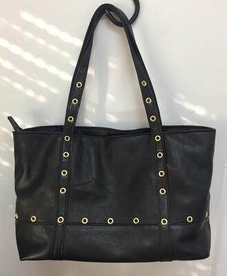 Cabas Rive cuir froissé noir et cuir lisse noir made in France deco rivets couleur or porté épaule