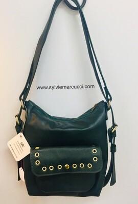Sabi Cuir Français vert anglais porté épaule ou sac à dos pièce unique
