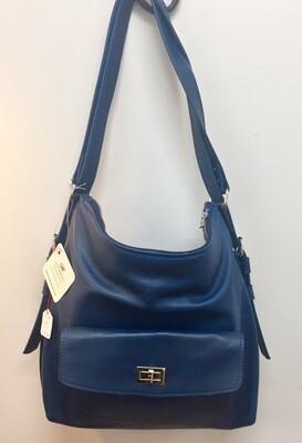 Sab grand format en cuir bleu , porté épaule ou sac à dos , anses réglables