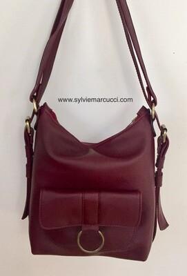 Sabi cuir bordeaux marron français, sac à dos et ou porté épaule, cuir souple pièce unique